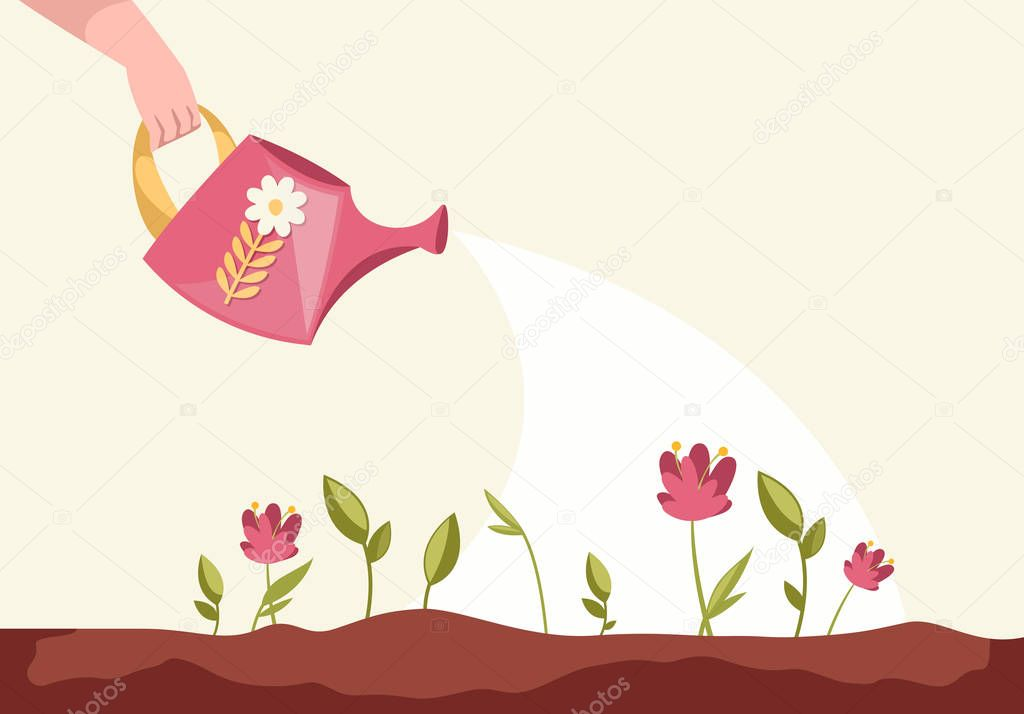 Man Watering Plants On The Field Sprouts Flowers Vector Cartoon Illustration Premium Vector In Adobe Illustrator Ai Ai Format Encapsulated Postscript Eps Eps Format