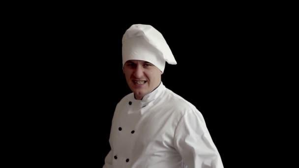 pro dospělé zlo vařit v kuchyni obleku drží pánev a připravený k boji. koncept představu o vaření