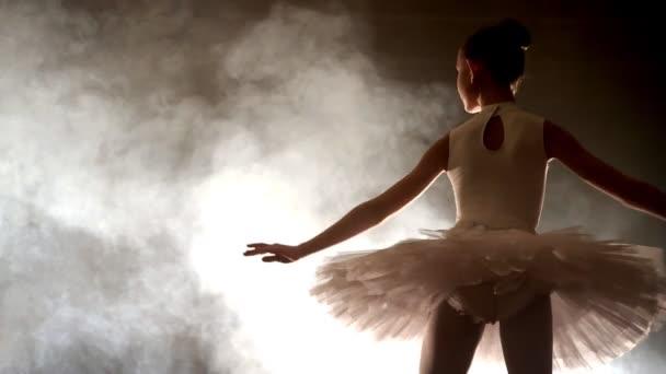 Ballerina tanzt auf der Bühne, Nahaufnahme mit magischem Licht und Rauch im Hintergrund.