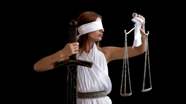 Greek goddess of justice Themis with sword and scales on black background. concept idea for advocates and lawyers