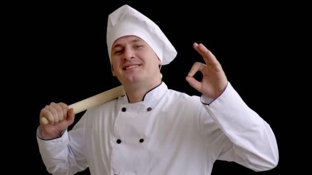 felnőtt férfi szakács, fehér színű azt mutatja, hogy egy jel-ból íz. főzni a fekete háttér