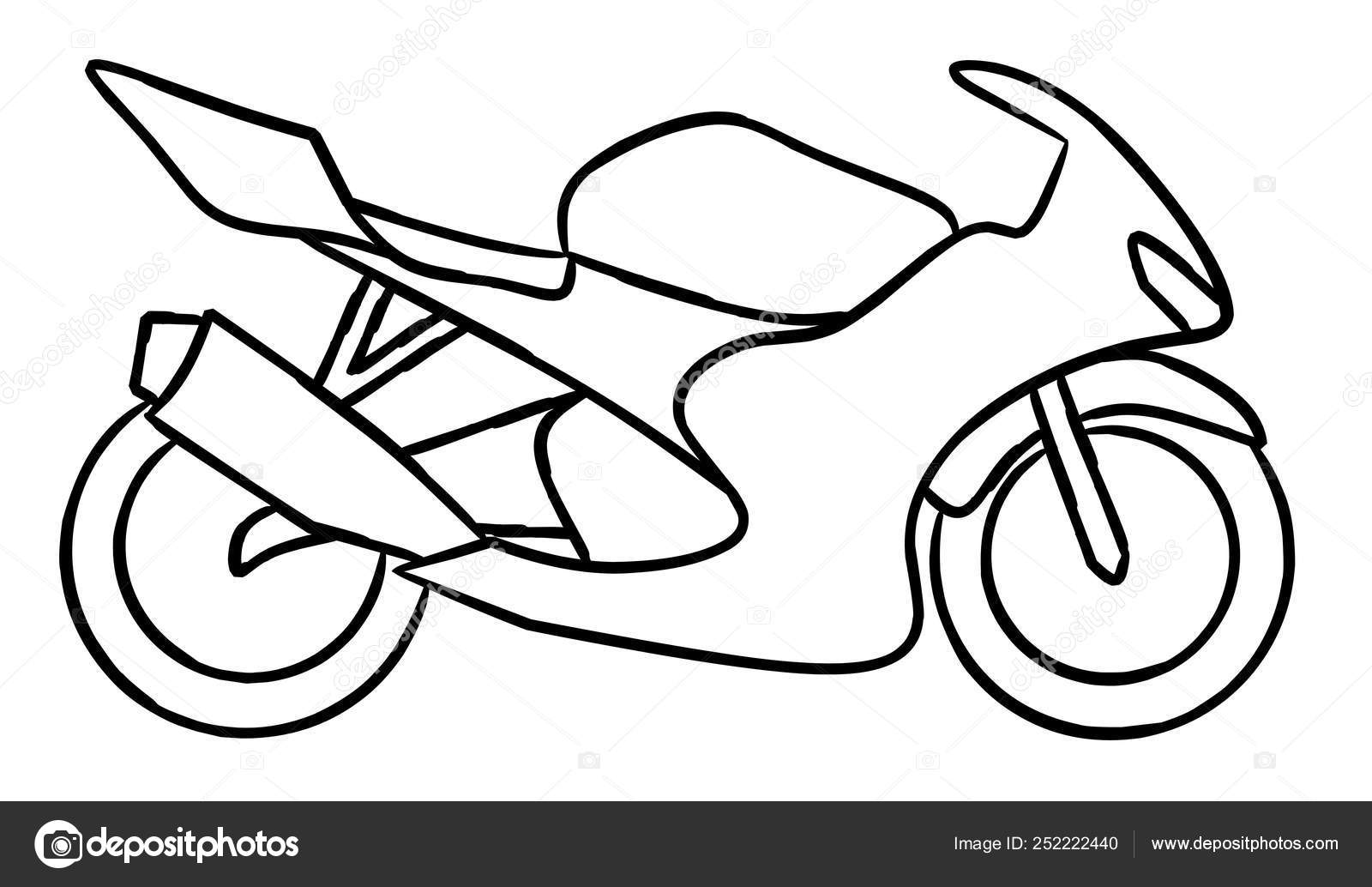 Hand Draw Style Ofa New Motorcycle Illustration Coloring Book Race Stock Photo C Dennyranch Gmail Com 252222440