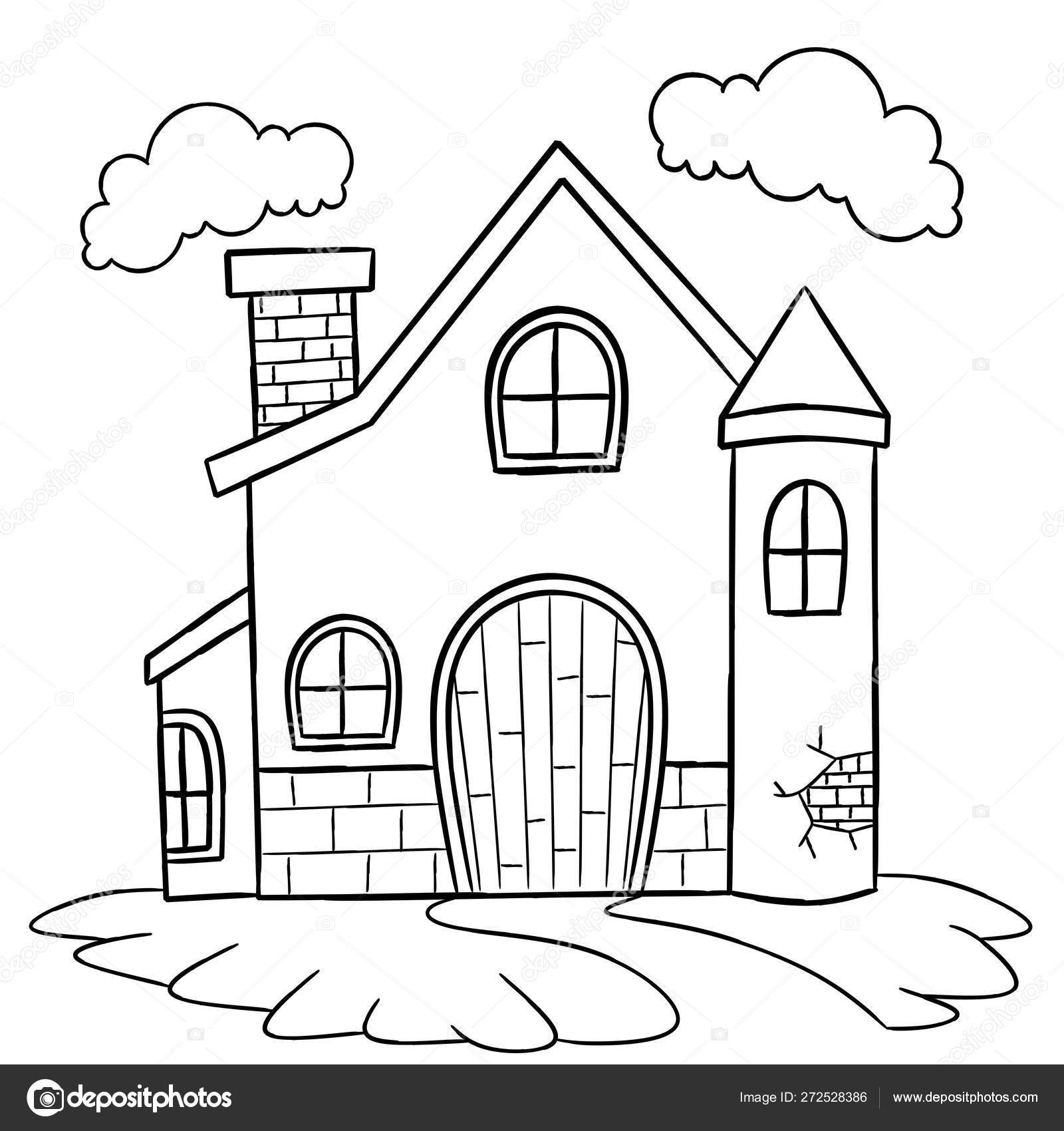 House Coloring Page Children — Stock Vector © dennyranch ...