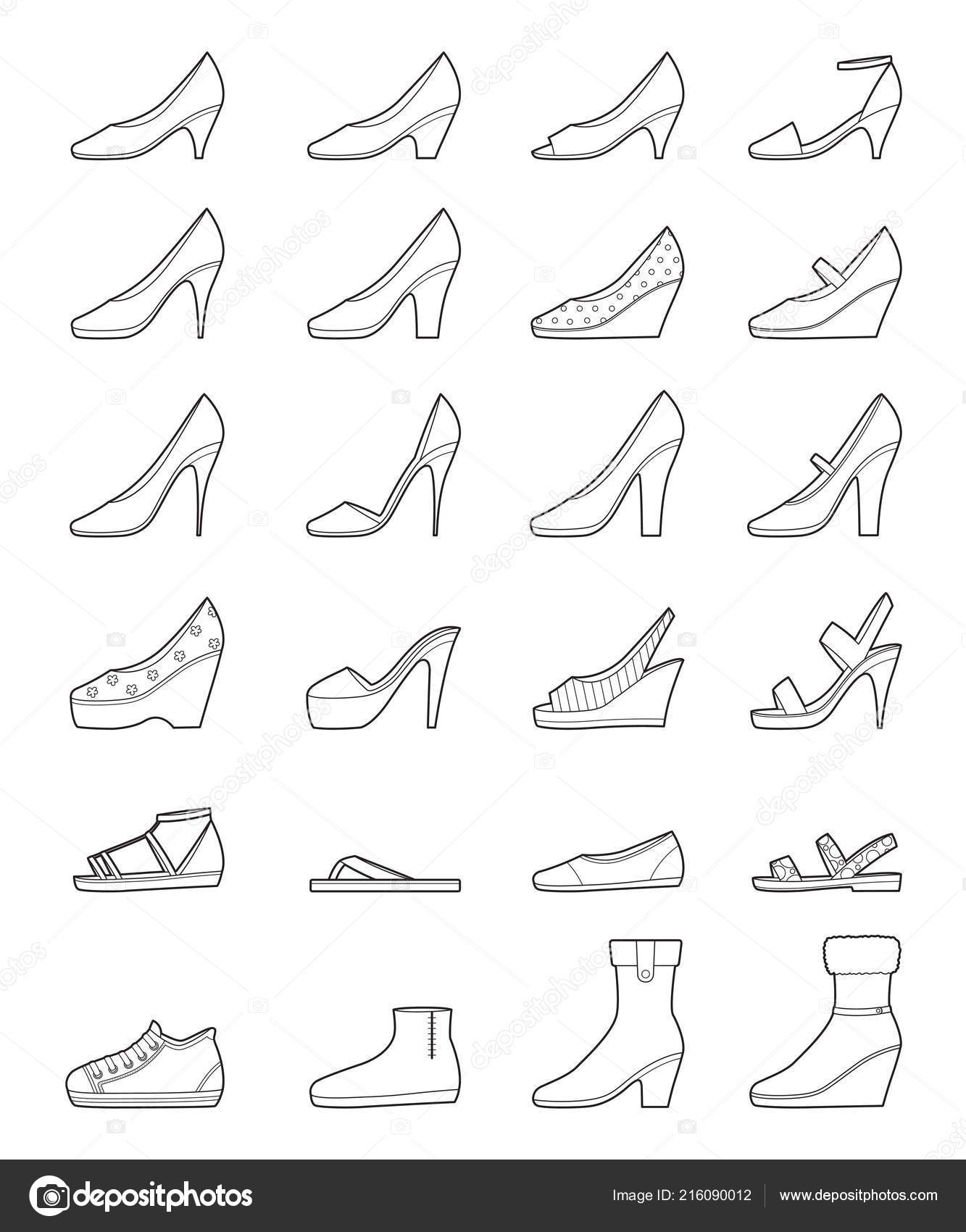 Tipos Moda Lado Zapatos Contorno Conjunto Vista Diferentes Calzado 5HOqxPZ