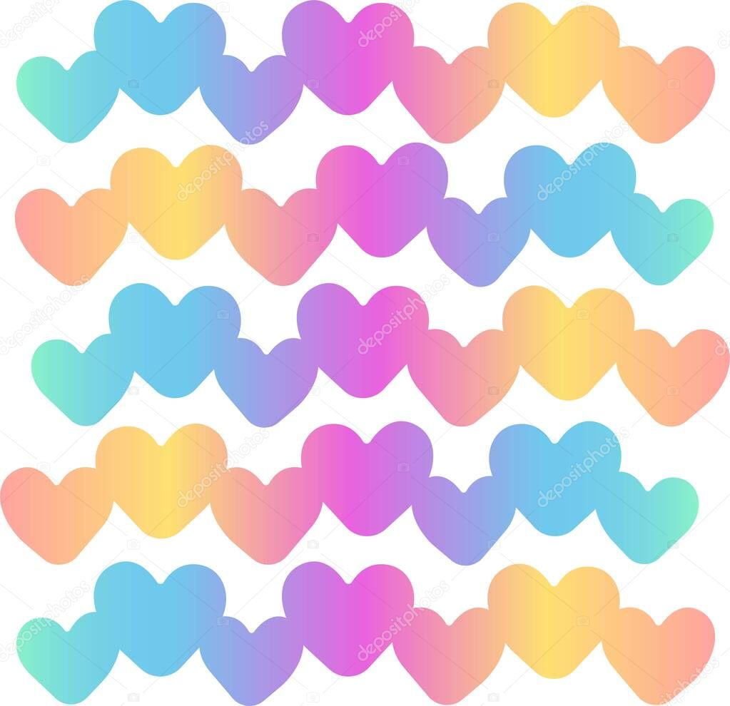 Print Hand-drawing silhouette background. Vector rainbow hearts, decoration. Element for design art. icon