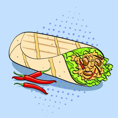 Shawarma and chili pepper pop art background food vector. Comic style imitation.