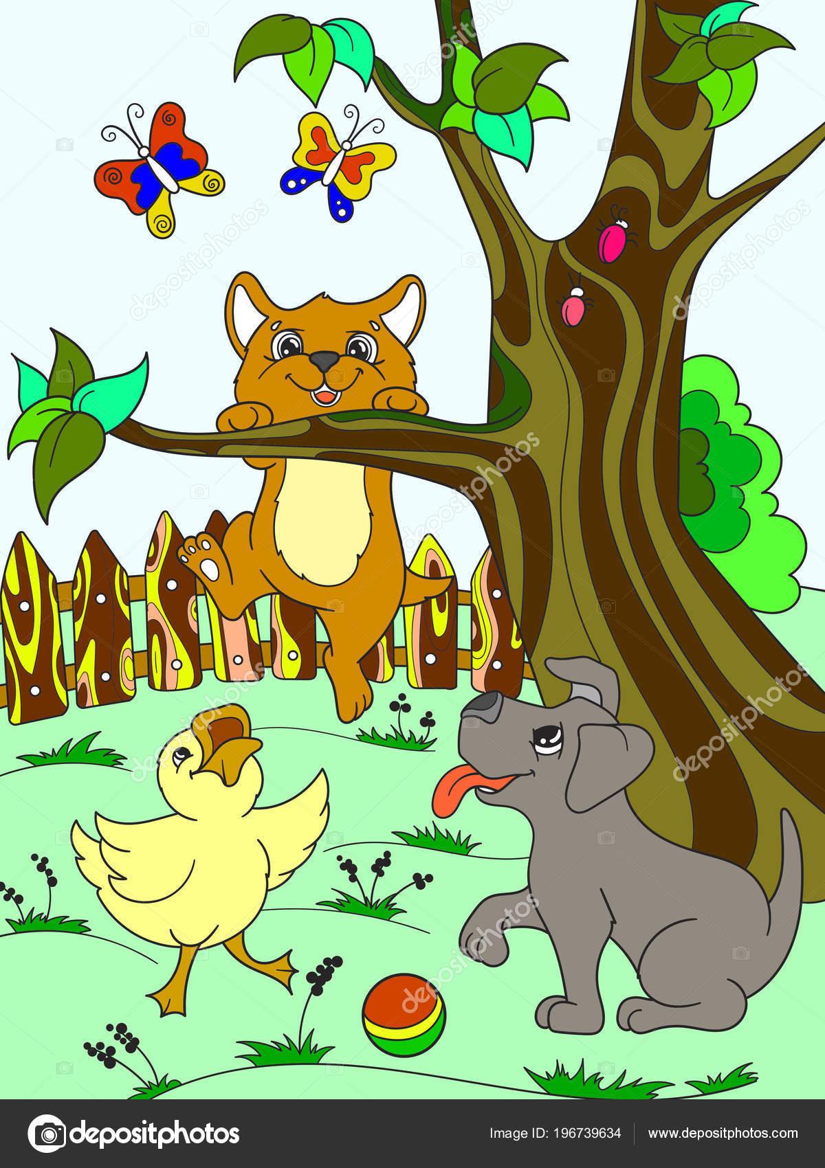 Niños color de dibujos animados animales amigos en la naturaleza ...