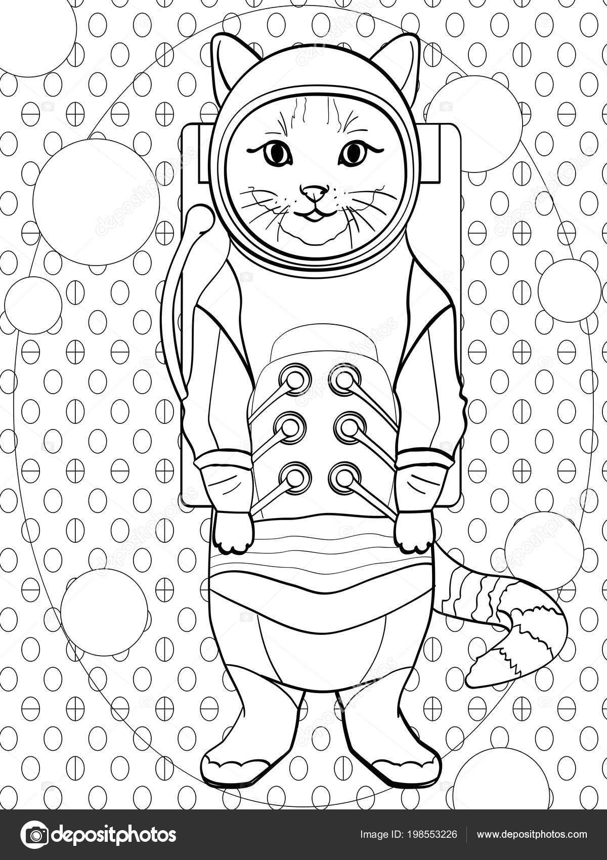 arte pop de fondo. Niños para colorear, líneas negras, gato de fondo ...