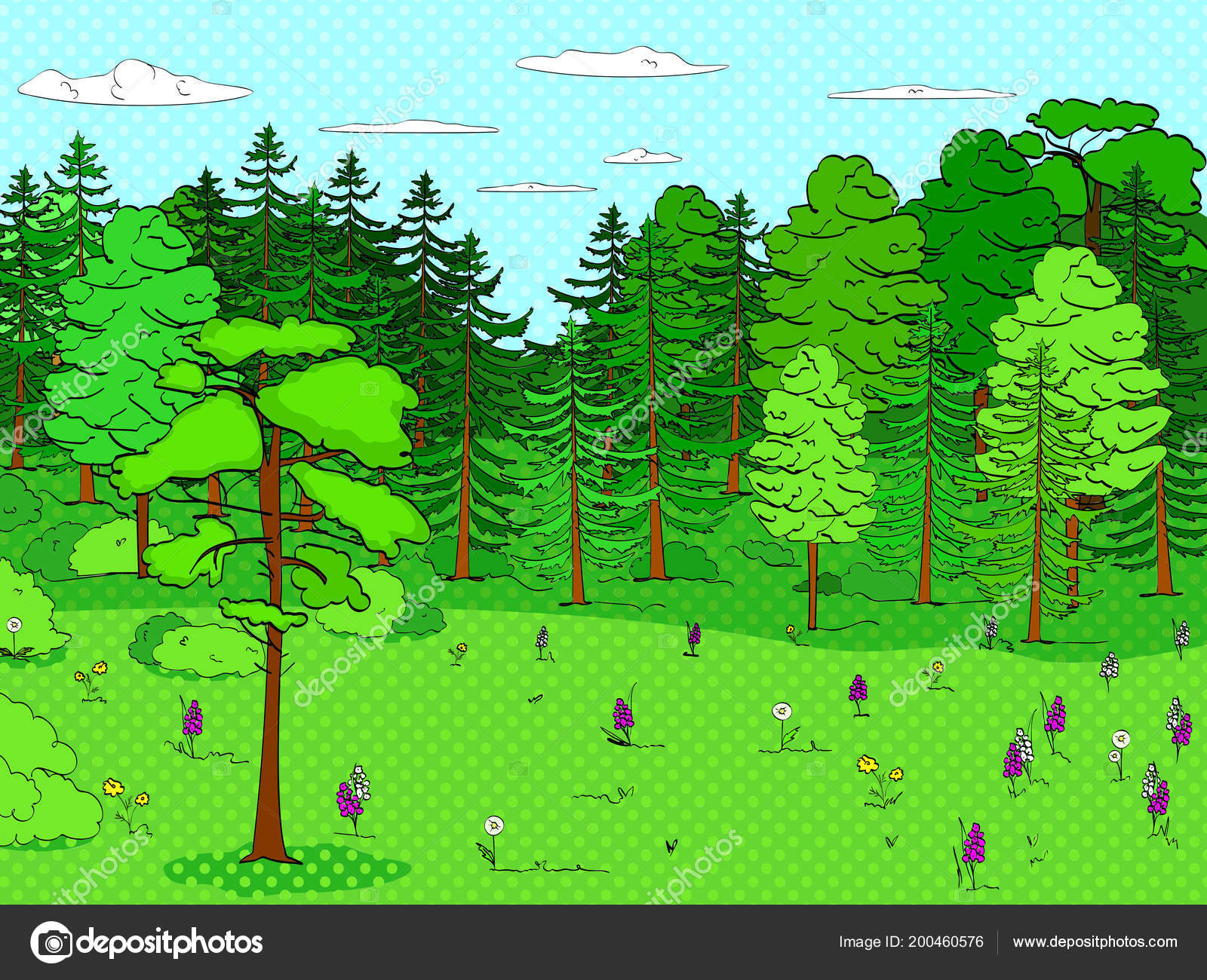 Pop art background, forest, glade, lots of trees, set  A lot