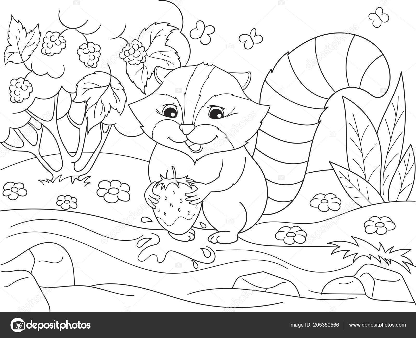Cartoon coloring book black and white Nature. American ...