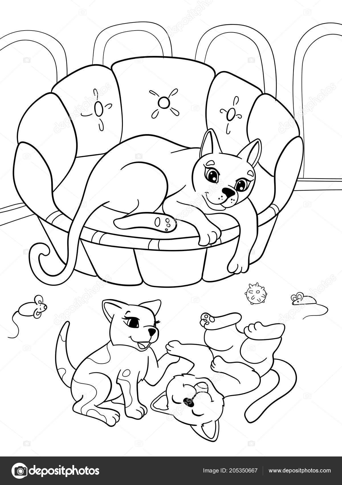 Para Niños Colorear Familia De Dibujos Animados De Libro Sobre La