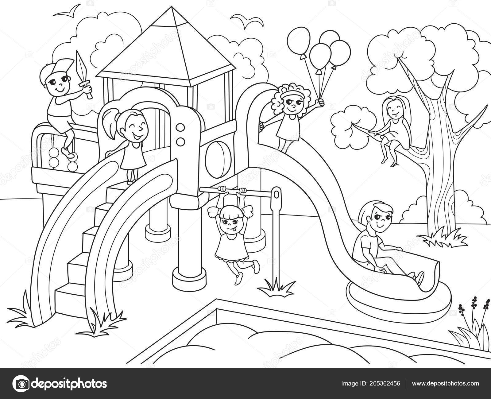 - Playground Coloring Pages Childrens Playground Coloring. Raster