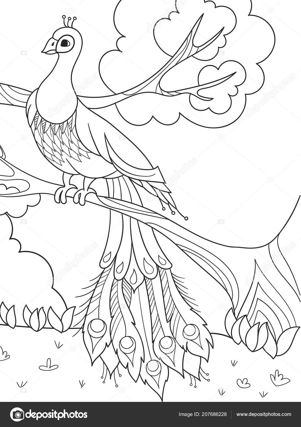 Para Colorear Dibujos Animados Para Niños Un Pájaro Una