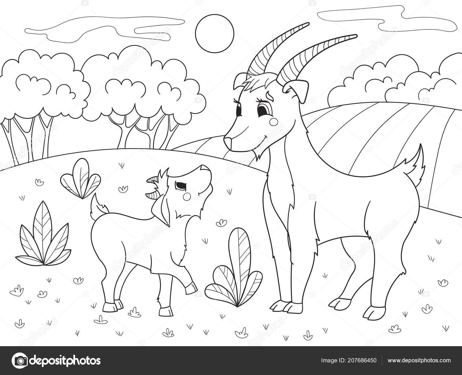 Libro De Colorear Dibujos Animados Para Niños Una Familia