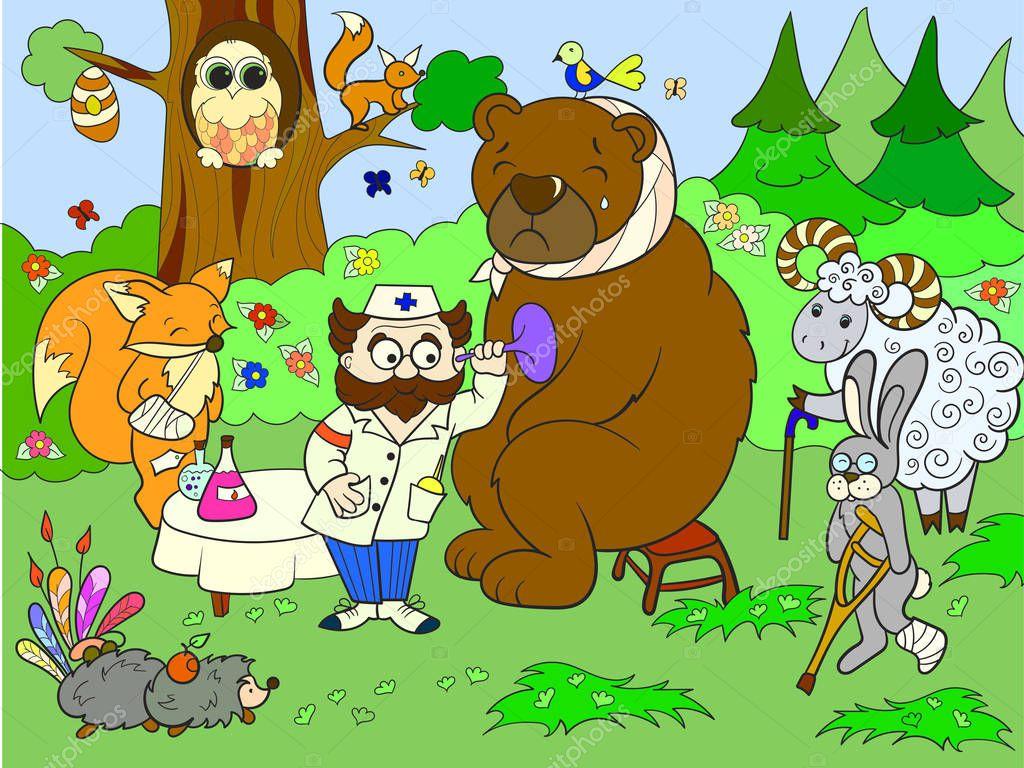 Veterinarian treats animals in the forest raster illustration