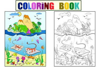 Underwater world with fish, plants, island and caravel coloring for children cartoon raster illustration