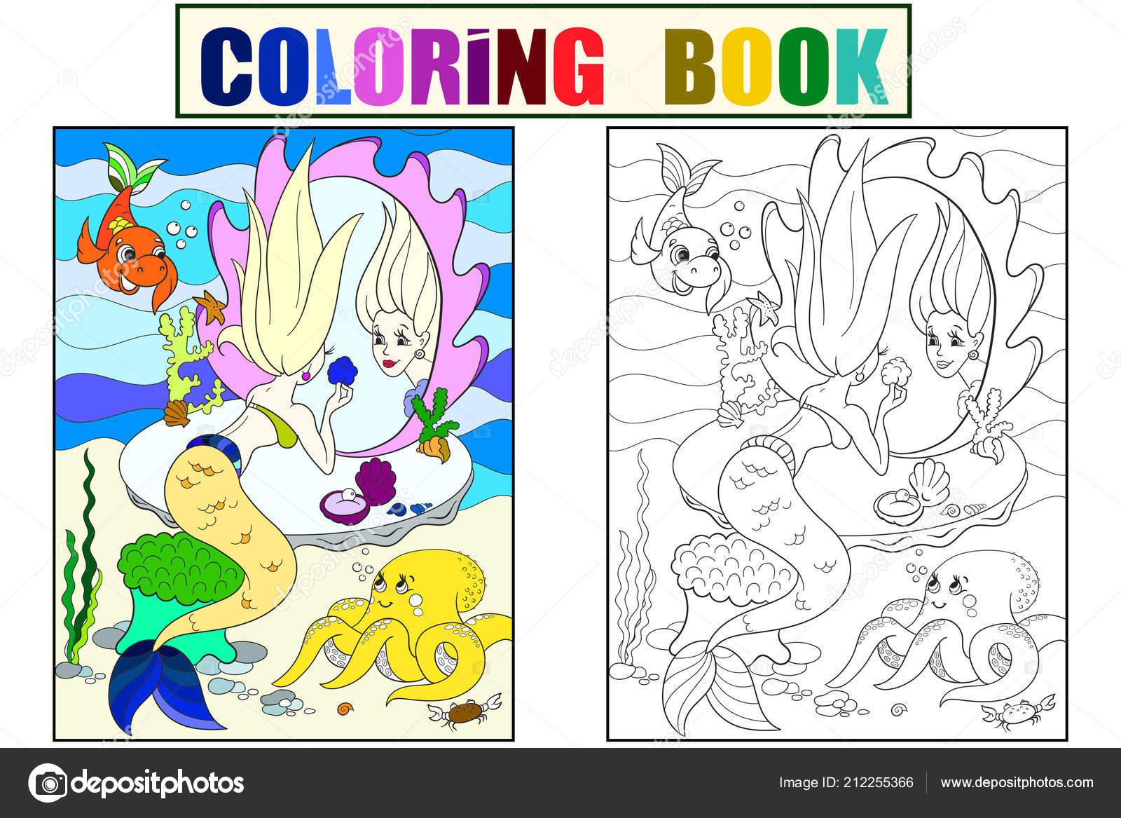 Sirena Se Ve En El Espejo Libro De Colorear Para Niños Dibujos