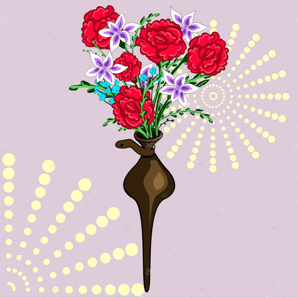 A decorative vase in the wall. Bouquet of flowers. Chrysanthemums and carnations