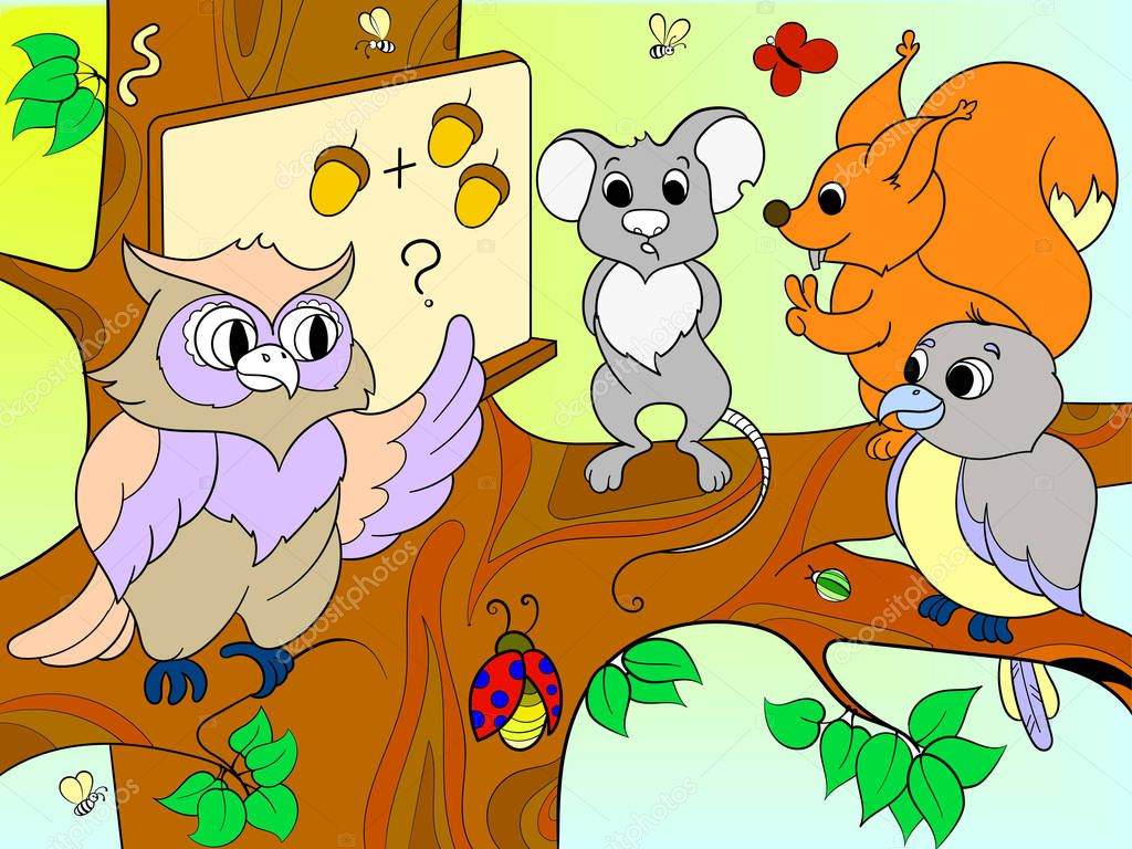 Lesson in the school of an owl in the woods color book for children cartoon raster illustration