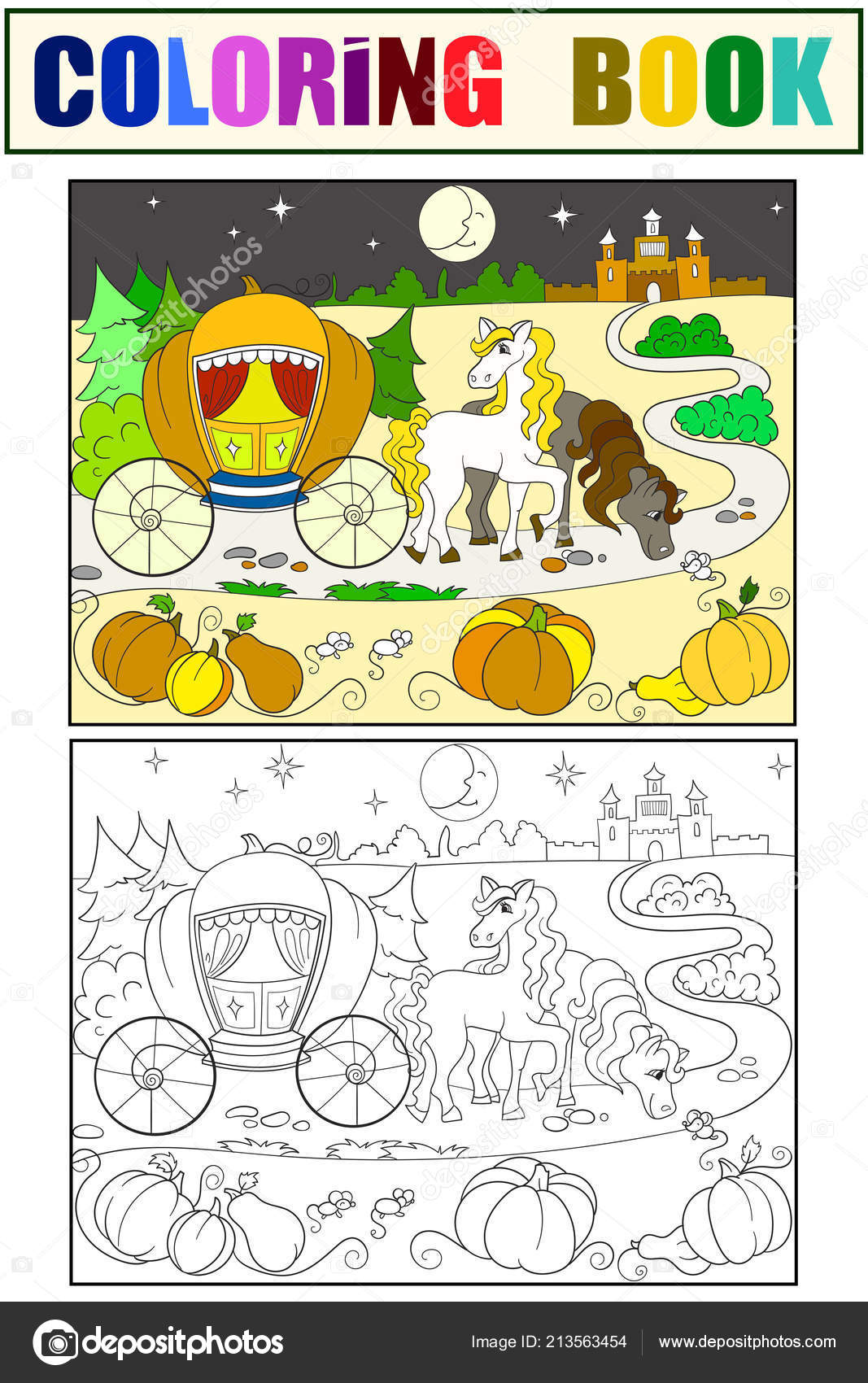 Cinderella fairy tale coloring book for children cartoon raster ...