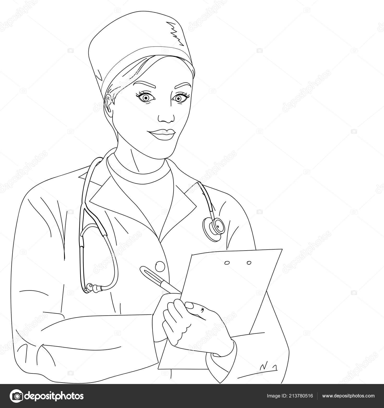 Kadın Doktor Bir Kız Bir Sabahlık Ve Tıbbi Giyim Raster Boyama