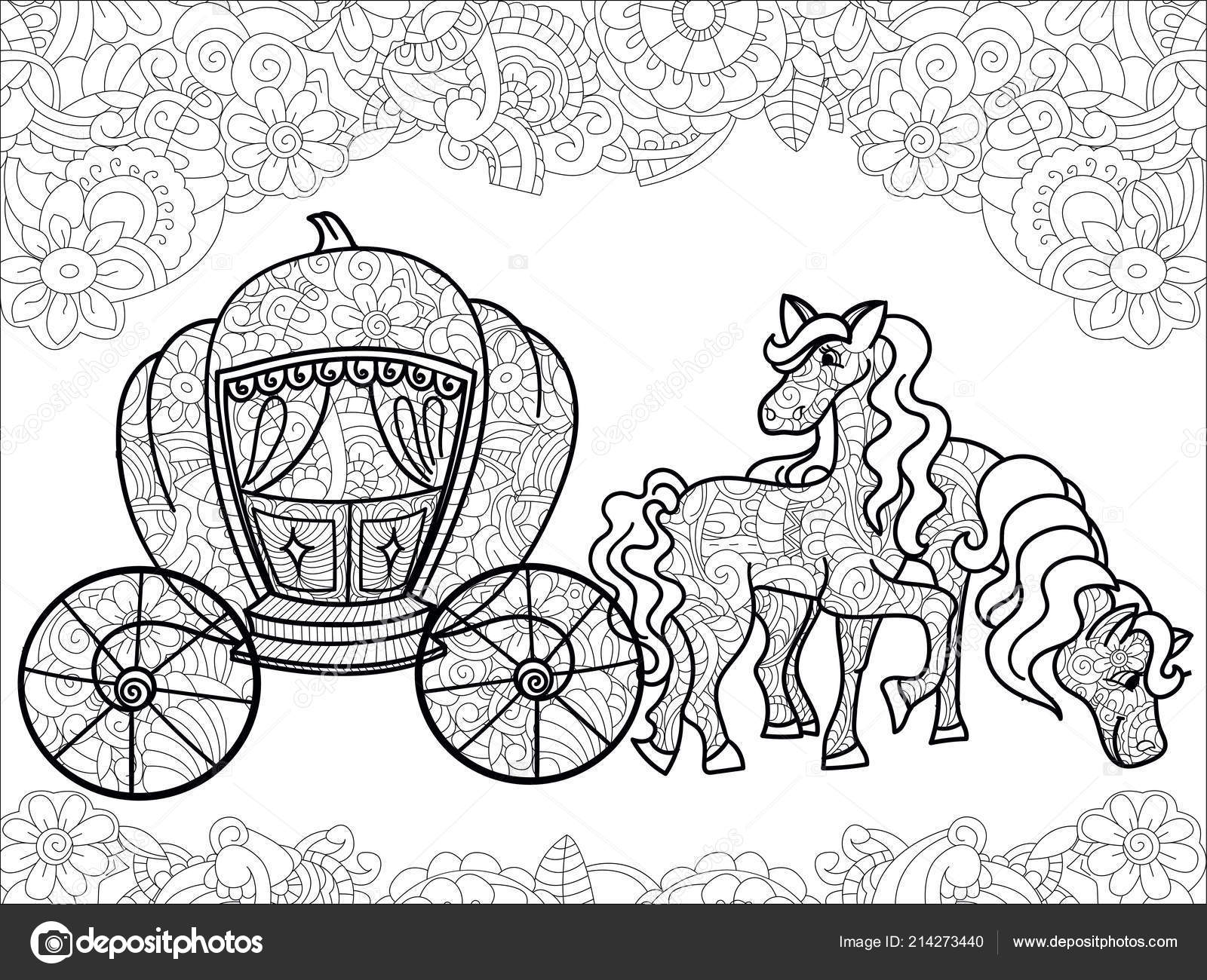 Carriage pumpkin and horses transport for the king childrens anti stress coloring book raster illustration
