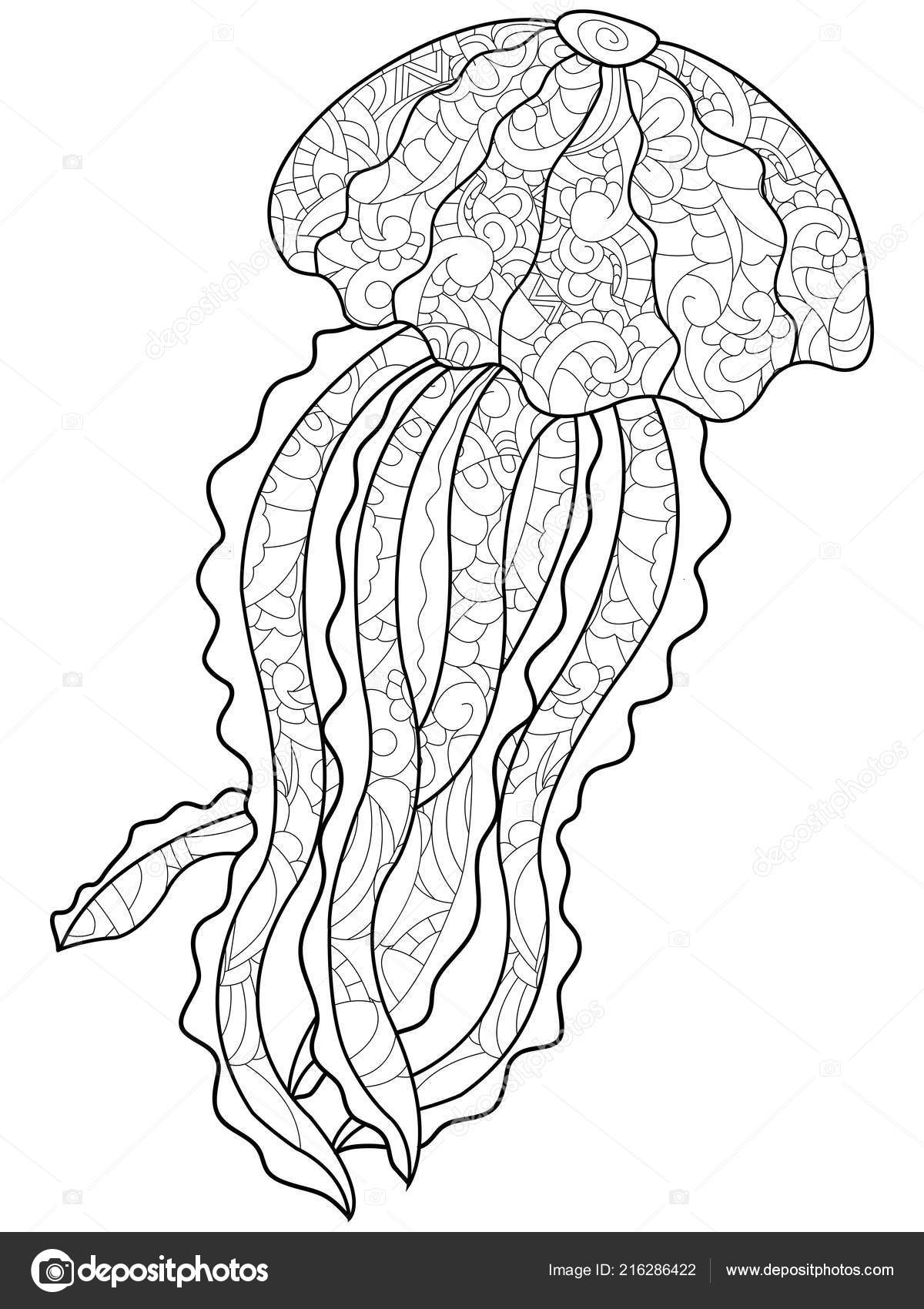 Coloriage Anti Stress Danse.Coloriage Anti Stress Medusa Marine Animal Des Dessin