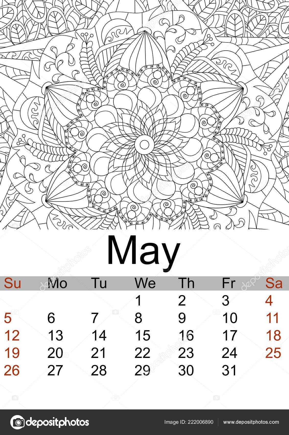 Calendario Mes De Mayo 2019 Antiestrés Para Colorear Flores
