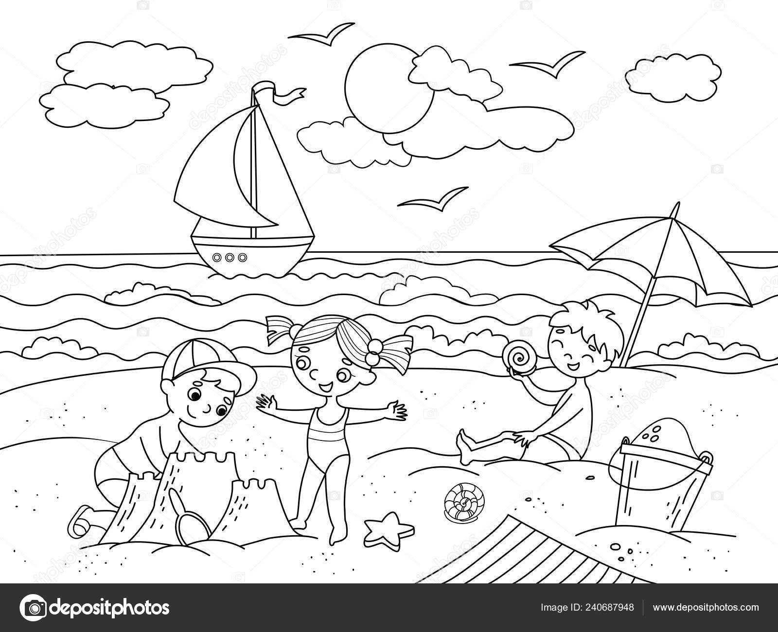 Niños Nadando En La Playa Y Jugar Con Ilustración De Juguetes Mar