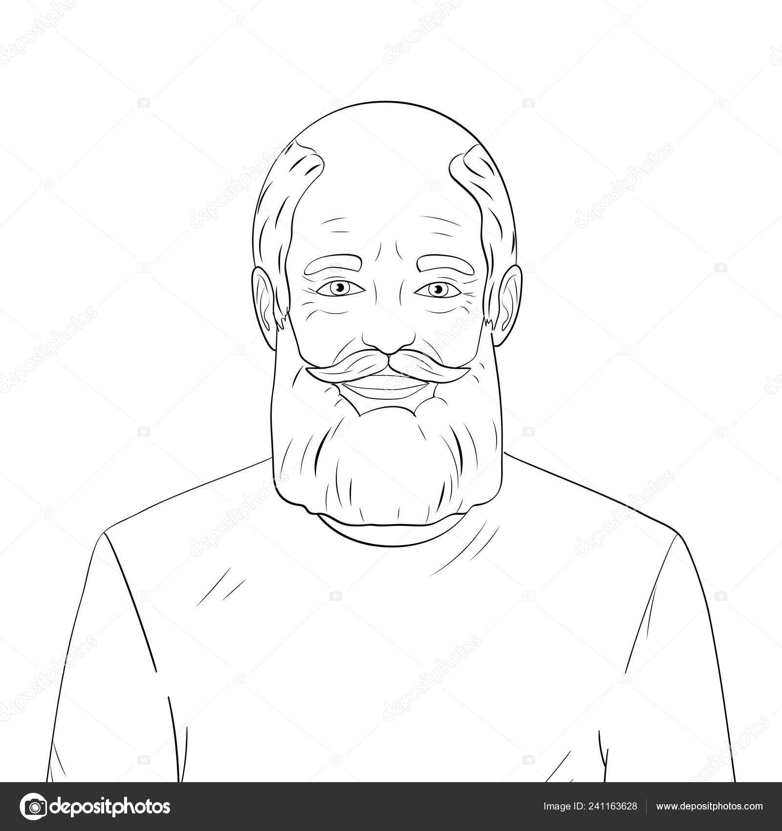 Linee Di Disegni Da Colorare Neri Su Sfondo Bianco Vecchio Nonno