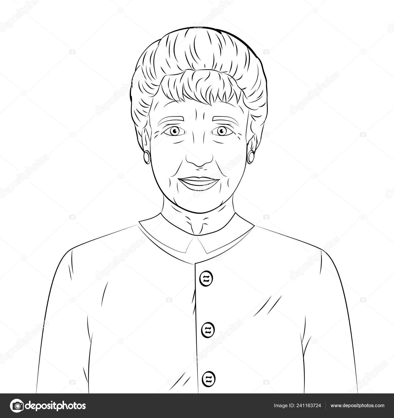 Linee Di Disegni Da Colorare Neri Su Sfondo Bianco Vecchio Nonna