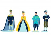 Fotografie The Royal Family. In minimalist style. Cartoon flat Vector