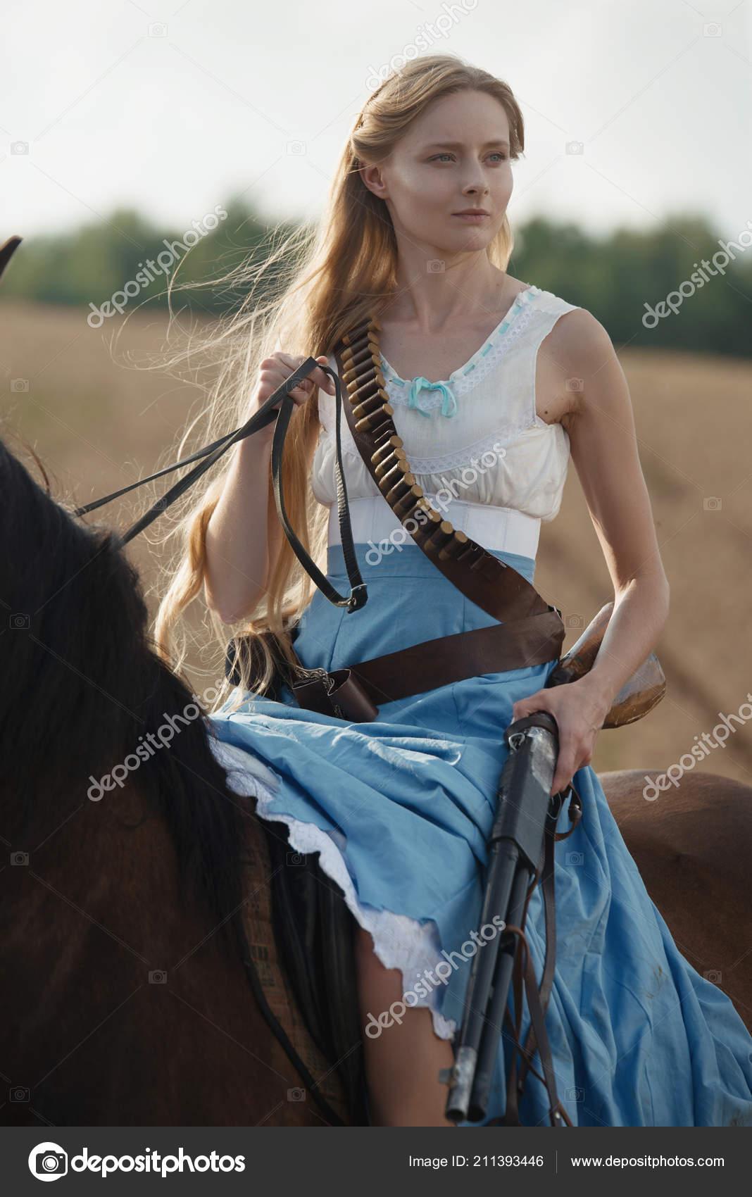 Portrait Beautiful Female Cowgirl Shotgun Wild West Riding Horse Outback Stock Photo C Artyme 211393446