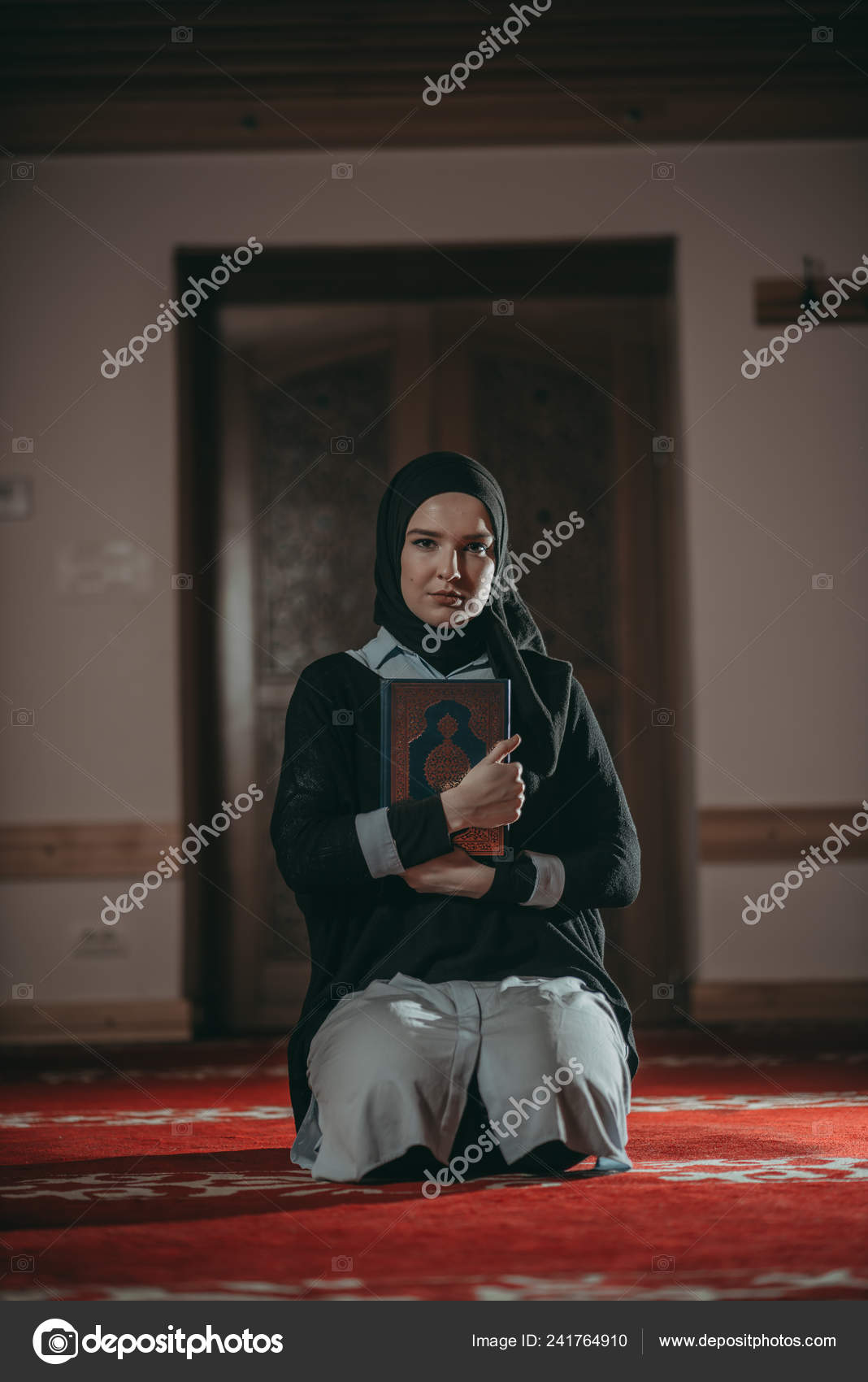 Muslim Woman Praying Reading Quran — Stock Photo © seriffejzic1921