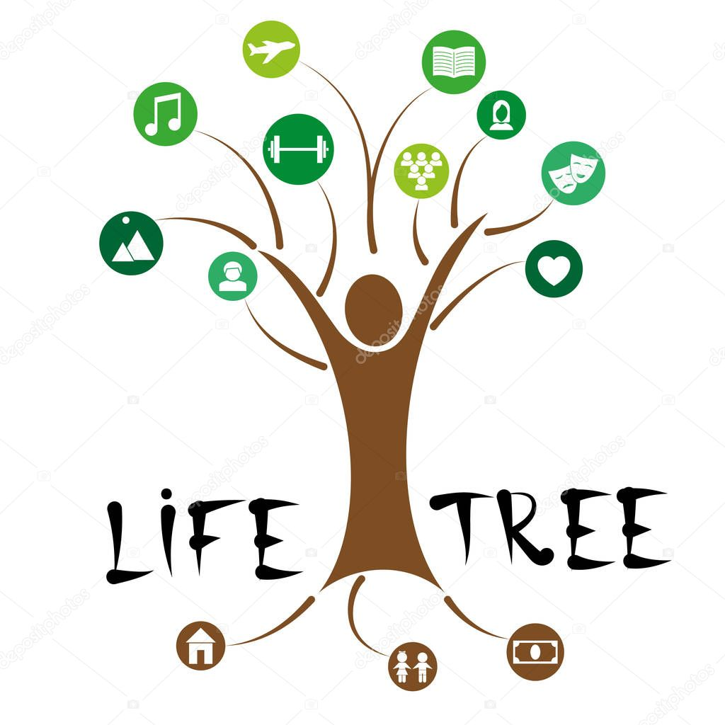 Concept design of a tree of human life with leaves of interests and hobbies. Vector illustration