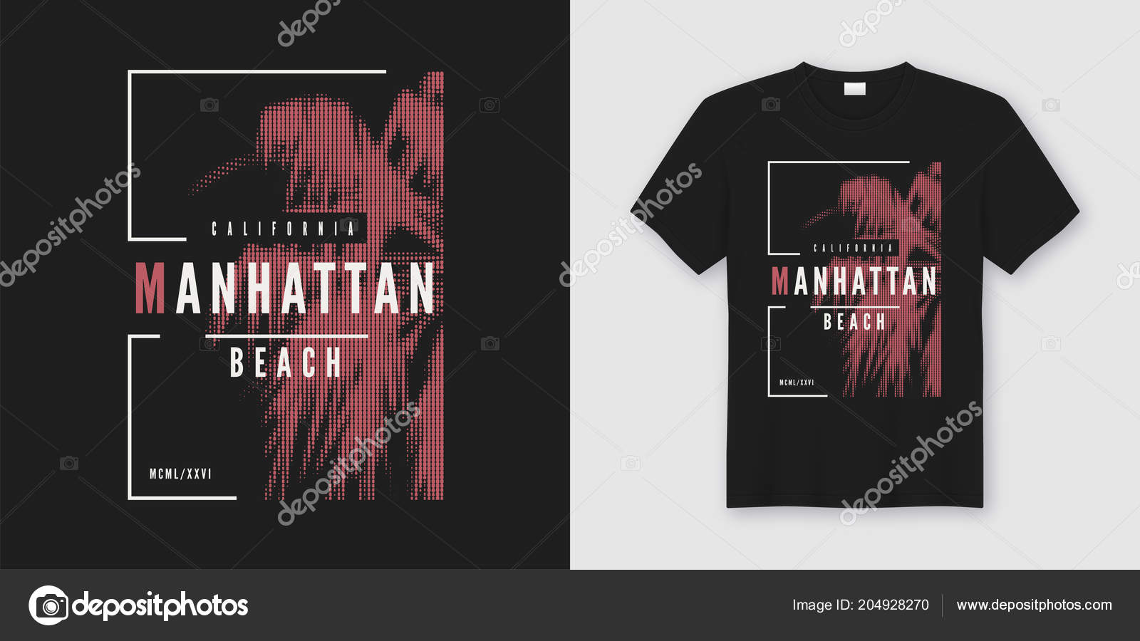 Manhattan Beach T Shirt And Apparel Trendy Design With Styled Pa