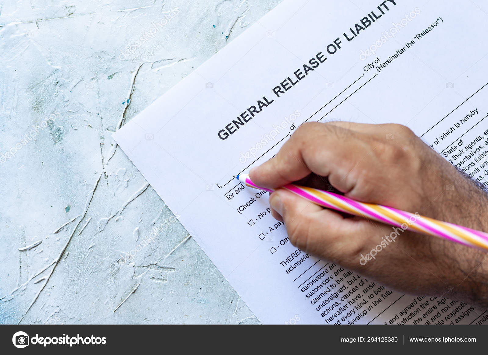 Release Of Liability Ca >> Filling General Release Of Liability Form Stock Photo