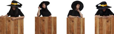Set of Halloween girl in witch costume on wooden board