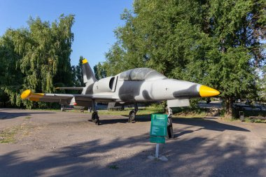Saratov, Russia - August 16, 2018: Czechoslovak training aircraft in gray-black camouflage coloring in Victory Park