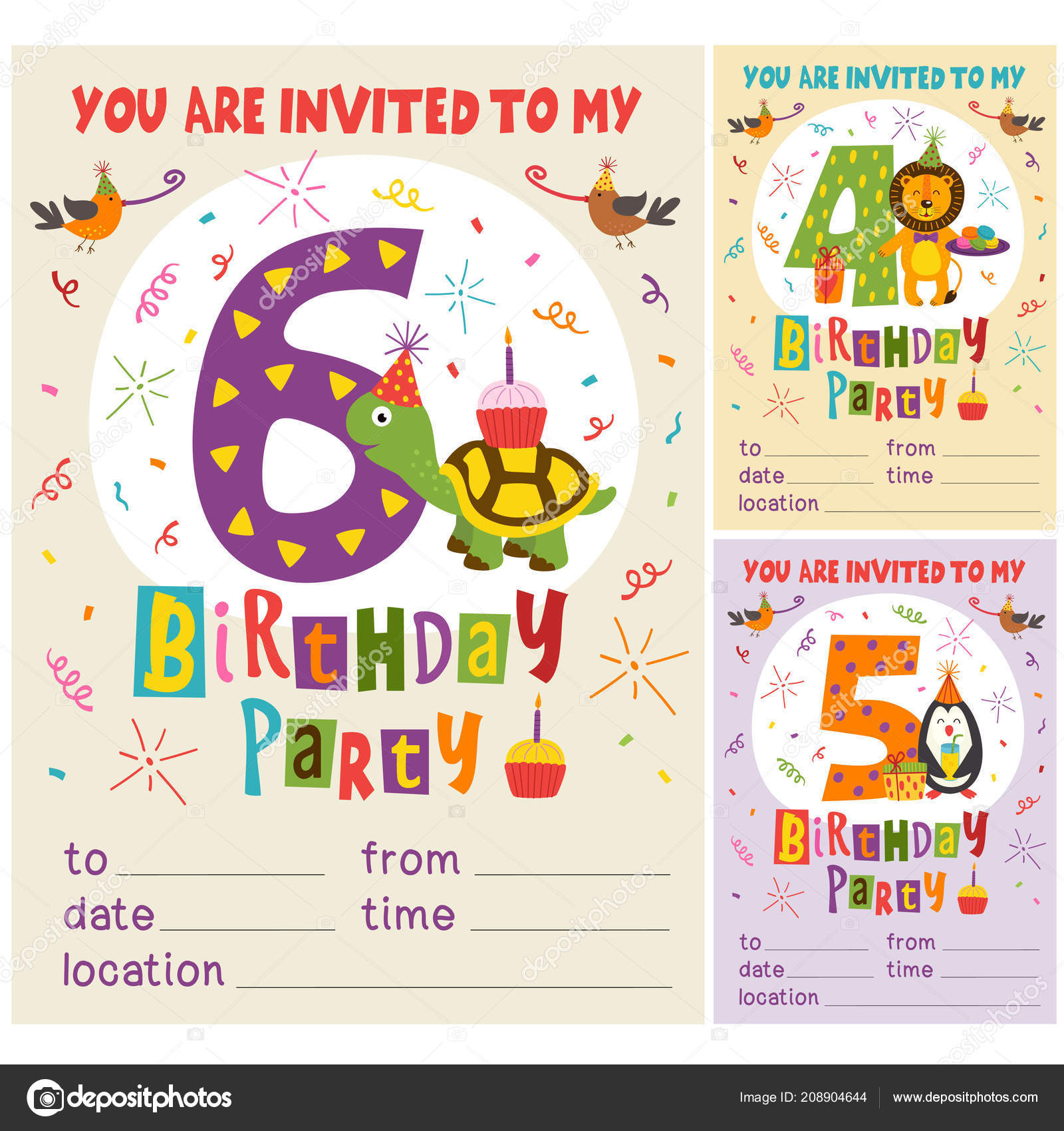 Happy Birthday Invitation Card Template Funny Animals Vector