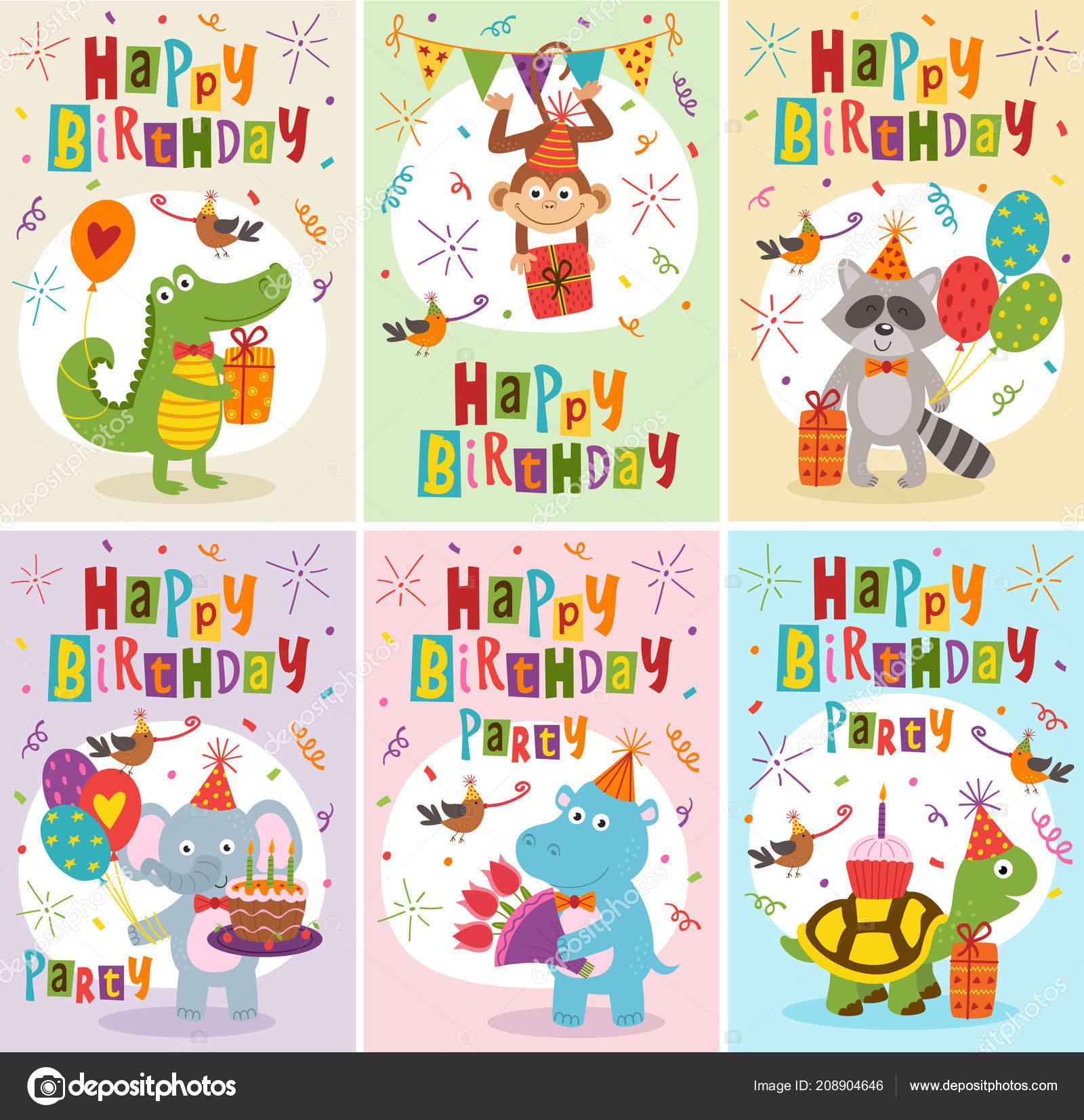 Insieme Delle Cartoline Auguri Buon Compleanno Con Gli Animali