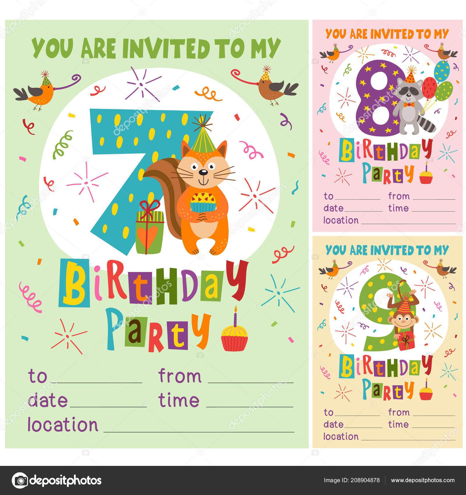 Plantilla Tarjeta Invitación Cumpleaños Feliz Con Graciosos