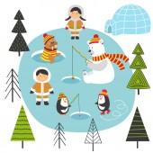 Photo Eskimos and arctic animals on North  - vector illustration, eps