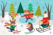 Photo poster winter fun with animals in forest  - vector illustration, eps