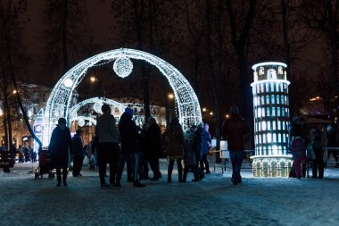 Lighting decoration as landmarks of the world in the city of Gomel during New Year festival celebration.