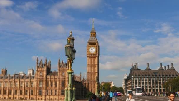 LONDON, ENGLAND, UK  SEPTEMBER 17, 2015 3 axis gimbal shot walking across a bridge towards big ben in london, United Kingdom