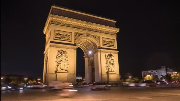 PARIS, FRANCE- SEPTEMBER 19, 2015: an oblique view time lapse of the arc de triomphe de letoile in paris