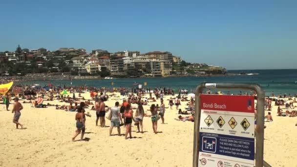 SYDNEY, AUSTRALIA - JANUARY 31, 2016: sydney australias famous bondi beach and sign looking north