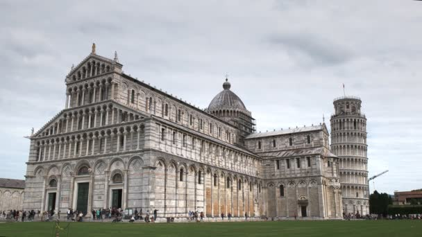 a wide view of the famous cathedral in pisa, italy