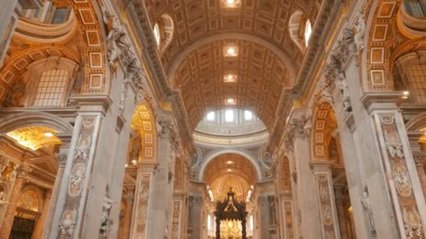 VATICAN STATE- SEPTEMBER 30, 2015: tilt up shot of the nave and interior of saint peters basilica in rome, italy